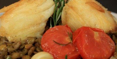 Receita Bacalhau com Lentilha e Tomate Confit