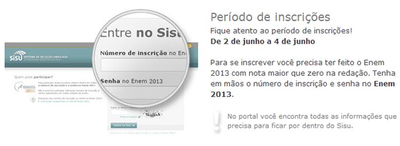 Inscrições Sisu 2014