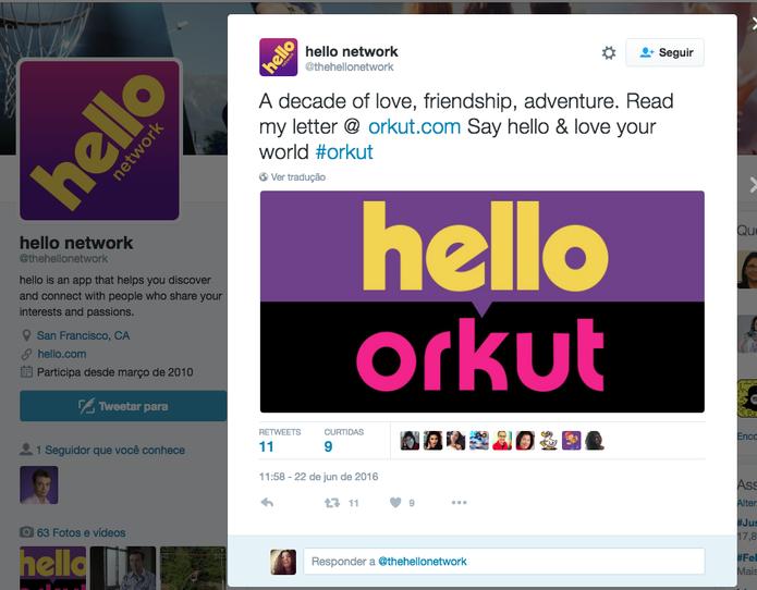 Hello: veja detalhes sobre nova rede social de Orkut Buyukkokten
