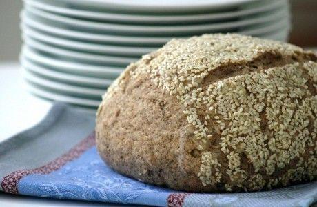 Receita Pão Integral com Linhaça e Crosta de Gergelim