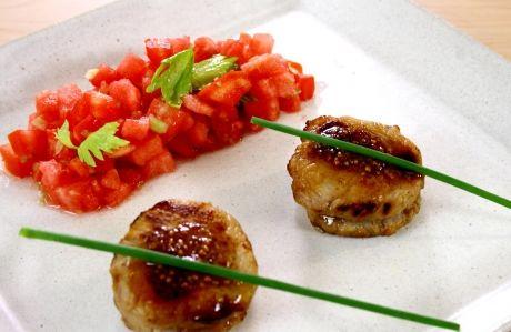Receita Lombo de Porco com Salsa de Tomate e Melancia