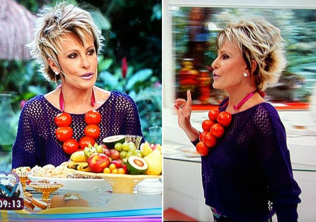 Ana Maria Braga usa Colar de Tomates