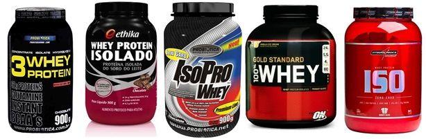 Algumas marcas de proteína isolada (whey protein).