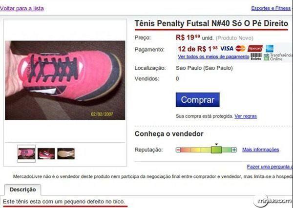 Tênis Penalty, apenas o pé direito